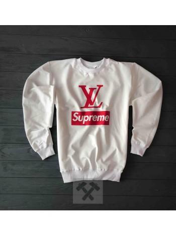 Белый весенний свитшот Supreme и LV
