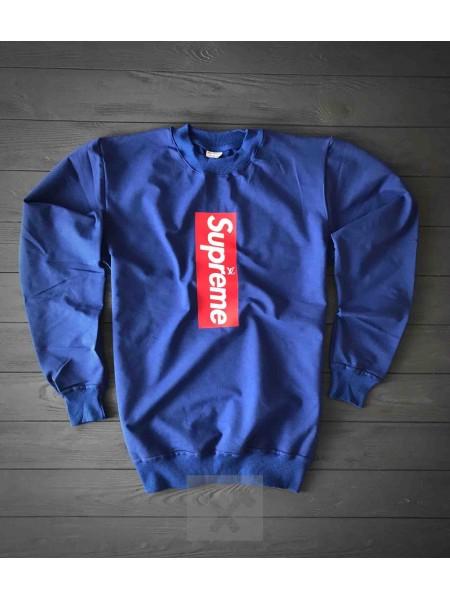 Синий свитшот Supreme i LV